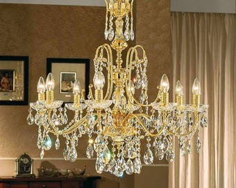 8 Lights chandelier-gold and Crystal Spectra-Luxury Collection