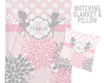 BALLERINA Monogram Blanket, Personalized Blanket, Baby Girl Name Blanket, Baby Girl Shower Gift, Swaddle Blanket Pillow Set-Baby Pillow