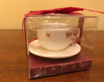 2005 Starbucks White Cup & Saucer Christmas Ornament - Joy, Wish, Love