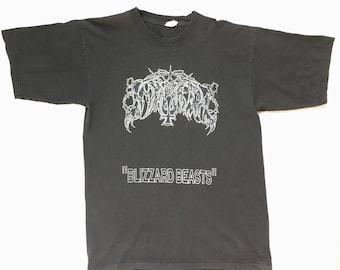 "1997 Immortal ""Blizzard Beasts"" vintage band shirt-XL-Mayhem,Burzum,Darkthrone,Emperor,Satyricon,Bathory,Dark Funeral,Celtic Frost,Gorgoroth"
