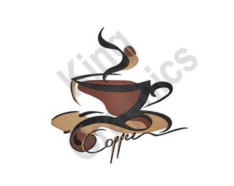 Coffee Cup Swirl - Machine Embroidery Design