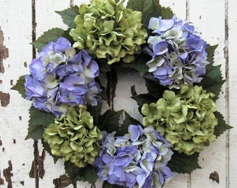 Truly Perfect Everyday Hydrangea Wreath with Lavender/Cream and Olive Green Hydrangeas - Ready to Ship