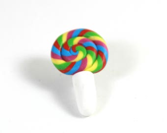 Lollipop brooch, Lollipop pin, Candy pin, Swirl candy brooch, Colorful candy pin