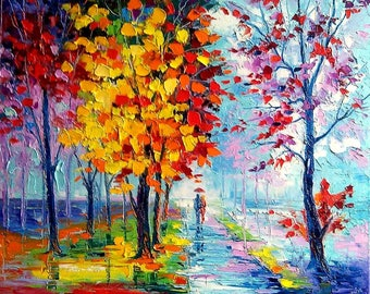 Autumn Blues Oil painting on canvas palette knife wall art