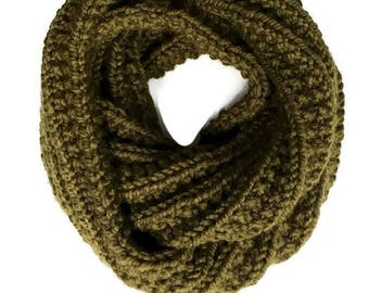 Valentines gift. Infinity scarf, super chunky knitted scarf, cilantro- Fisherman scarf