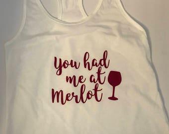 Racerback Tank, Ladies Tanktop, Tanktop, Tank Top, Wine Shirt, Merlot shirt, Wine tank top, wine shirt