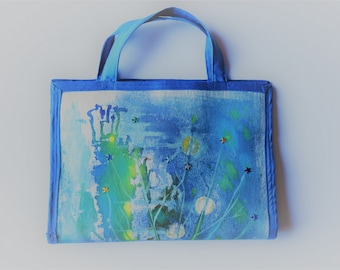 Handcrafted Cosmetic Bag with Hand Painted Design, ONE OF A KIND!