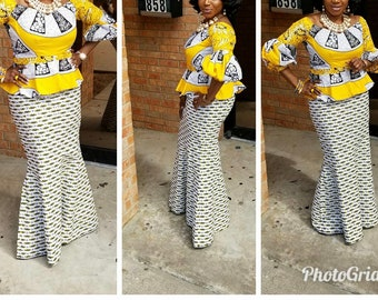 3 yards each Mix and Match Yellow / White African Fabric/ ankara/ african Wax Print/