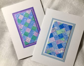 Quilt blank cards, set of 2, original art, individually made from hand-painted papers: A6, fine card, notecard, SKU BLA61008