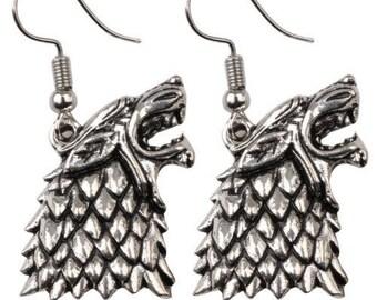Game Of Thrones Stark Wolf Drop Earrings