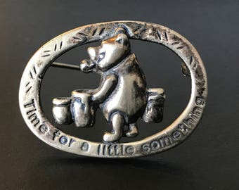 OBO - Vintage Sterling Silver Winnie the Poo Brooch Marked Disney