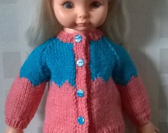 Winter outfit for any 15 inch and over doll - hat cardigan and skirt - doll is just a model