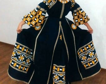 Vyshyvanka Dress Ethnic Ukrainian dresses Custom Embroidery Bohemian Clothes Vishivanka Kaftan Abaya Caftan Modern style Boho Clothing