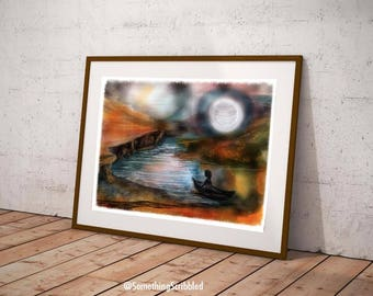 Unique Wall Art, Travel Wall Art, Canoe Print, Moon Art, Moon Wall
