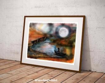 Unique Wall Art, Travel Wall Art, Canoe Print, Moon Art, Moon Wall