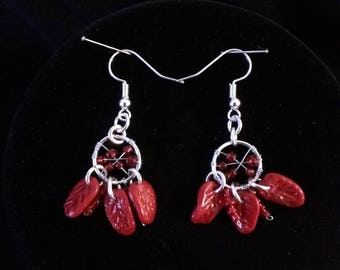 Red and silver dream catcher earrings