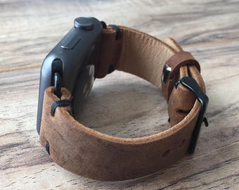 Apple Watch Band, iwatch band,apple watch band 38mm 42mm,apple watch,apple watch leather band Made in USA - BrownColor - Black Stitching