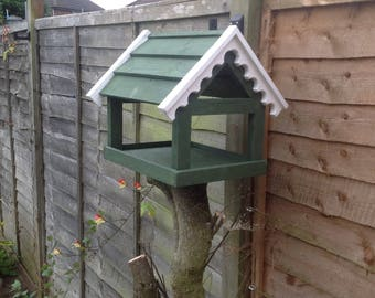 Solid pine bird table for post or hanging