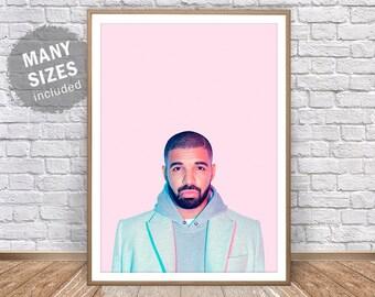 Drake Print • Hip Hop Print Drake Poster Drake Art Drake Wall Art Hotline Bling Drake Party Drake Card Drake Wall Decor Hip Hop Wall Art
