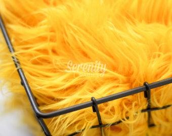 Yellow Mongolian Faux Fur Fabric, Fur Blanket, Basket Filler, Photography Backdrops, RTS Newborn Photo Prop, Faux Fur Prop, Newborn Fur RTS