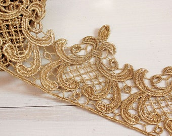 Vintage Gold Metalic Gold Lace Trim, Gold Lace, Gold Scalloped Lace Trim By the Yard,Ribbon,Sewing Applique, Dress Edge