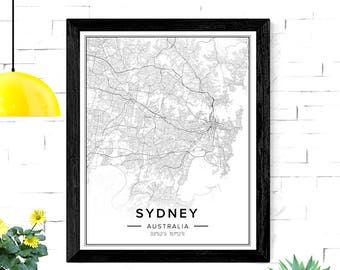 Sydney Map, Sydney Print, Sydney Poster, Sydney City Map, Sydney Art, Sydney Australia Art, Map Of Sydney, City Map Download, City Wall Art