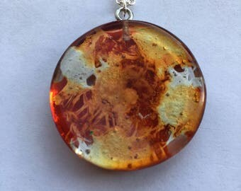 Orange and metallic silver round resin pendand/ necklace