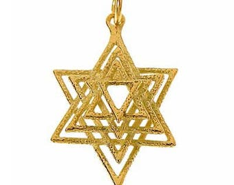 14K Gold 3 Dimensional Star of David pendant. israeli jewelry