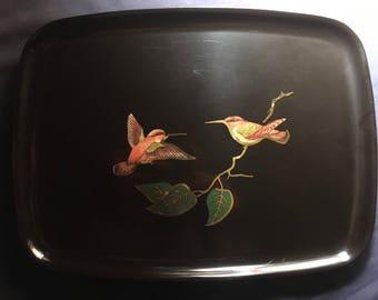 Vintage Couroc Hummingbird Tray