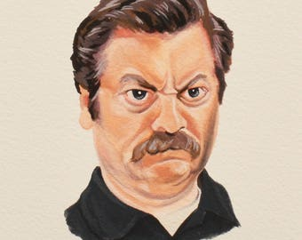RON SWANSON Painting, Parks and Recreation, Nick Offerman, TV Show Art, Original Gouache Painting, Parks and Rec, Tv Inspired Art