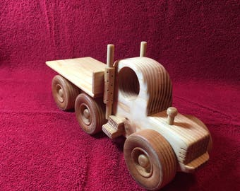"""Handcrafted 10"""" wooden flatbed truck"""