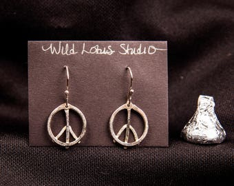 sterling silver peace symbol earrings