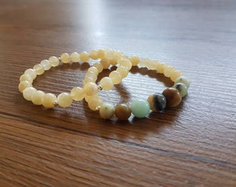 Crystal topaz and amazonite beaded bracelets