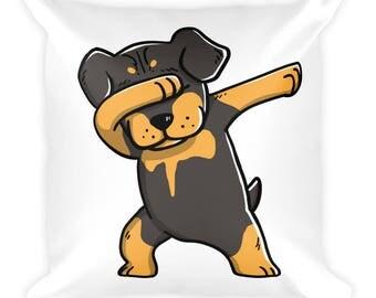 Funny Dabbing Rottweiler Pillow, Cute Rottweiler Dog Gift