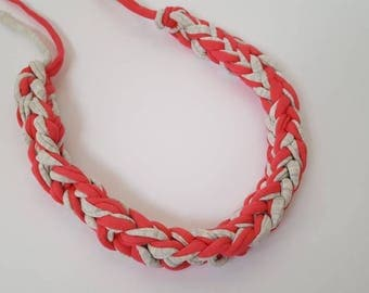 Handmade T-Shirt Yarn Necklace in Grey and Coral