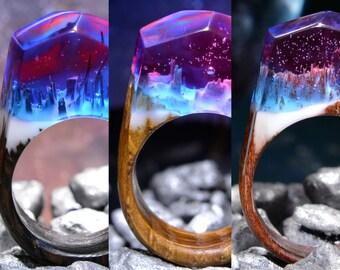 Resin wood ring Wood resin rings Wood rings Galaxy ring Woman wood ring Wood jewelry rings Wood fashion jewelry Jewelry resin Epoxy ring