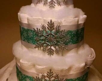 Snowflake Diaper Cake