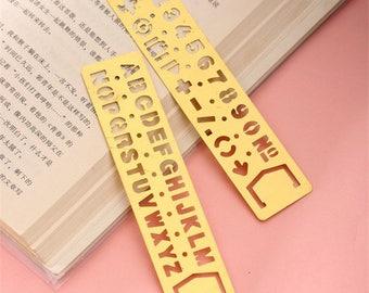 Gold Stainless Steel metal Letter/ Number Stencils Ruler