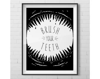 mouth of a dinosaur, fangs frame ,predator poster, brush your teeth,nursery poster,  bathroom poster, black  white prints, home wall decor