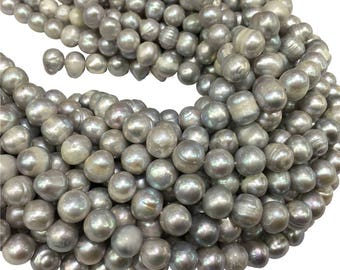 10-11mm Gray Freshwater Pearl Beads, Potato Shape ,Approx 15 Inch Strand,Hole 0.7mm