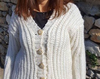 Wool hand knitted cardigan
