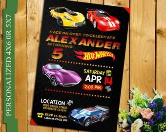 Hot wheels invitation, cars Invitation, hot wheels birthday invitation, racing birthday Invitation, cars, hotwheels, vert, racer
