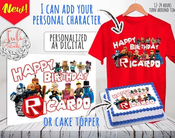 Roblox Birthday Cake Topper T-shirt Clipart Personalized Name Birthday Image for printable digital