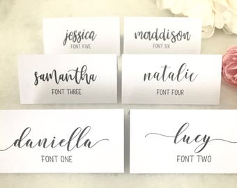 Wedding Printed Custom Place Card Escort Cards Calligraphy Name Choose your font, card colour and style! Placecards, invitations, swash