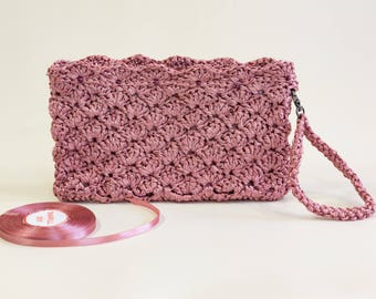 Winter end sale 20 % Pink Bridal Clutch Pink Bridesmaid Purse Pink Bridesmaid Clutch Pink Evening Purse Crochet Wedding Clutch Gift Idea
