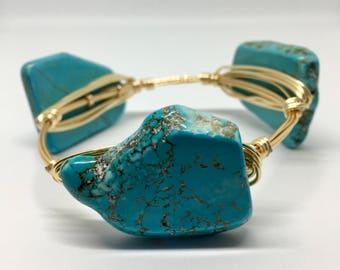 Turquoise Magnesite Bangle Bracelet