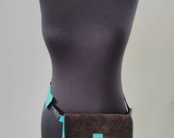 Leather women's belt bag, Fanny Pack, Leather Fanny Pack, Waist Bag, Belt Bag, Hip Bag,Turquoise leather belt bag, Leather Waist Bag, Modern