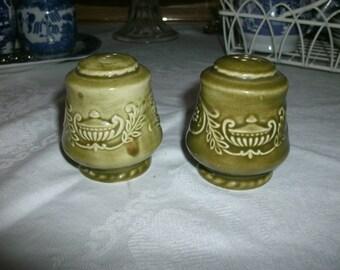 Vintage Green Salt and Pepper Shakers