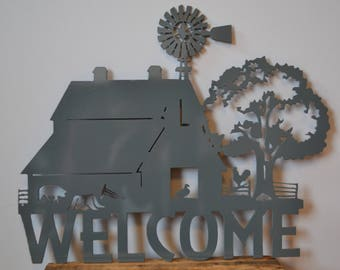 Scenic Farm Welcome Sign