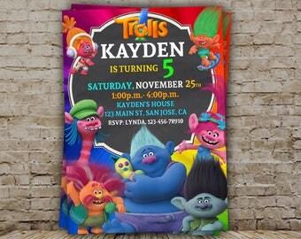 Trolls Birthday Invitation, Trolls invitation, Trolls Digital Invitation, Trolls Party, Trolls poppy, Trolls